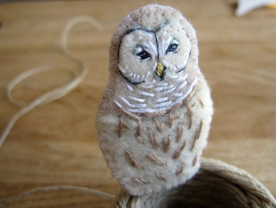 Barred owl felt brooch hand sewn woodland jewelry by PoofyDove, $15.00