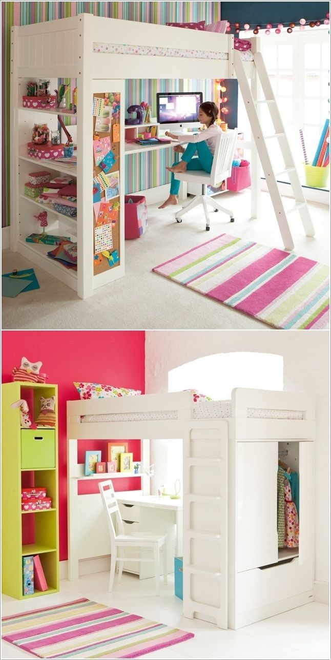 Loft bed ideas girls   Space Saving Ideas to Add a Study Space to Your Kids Room