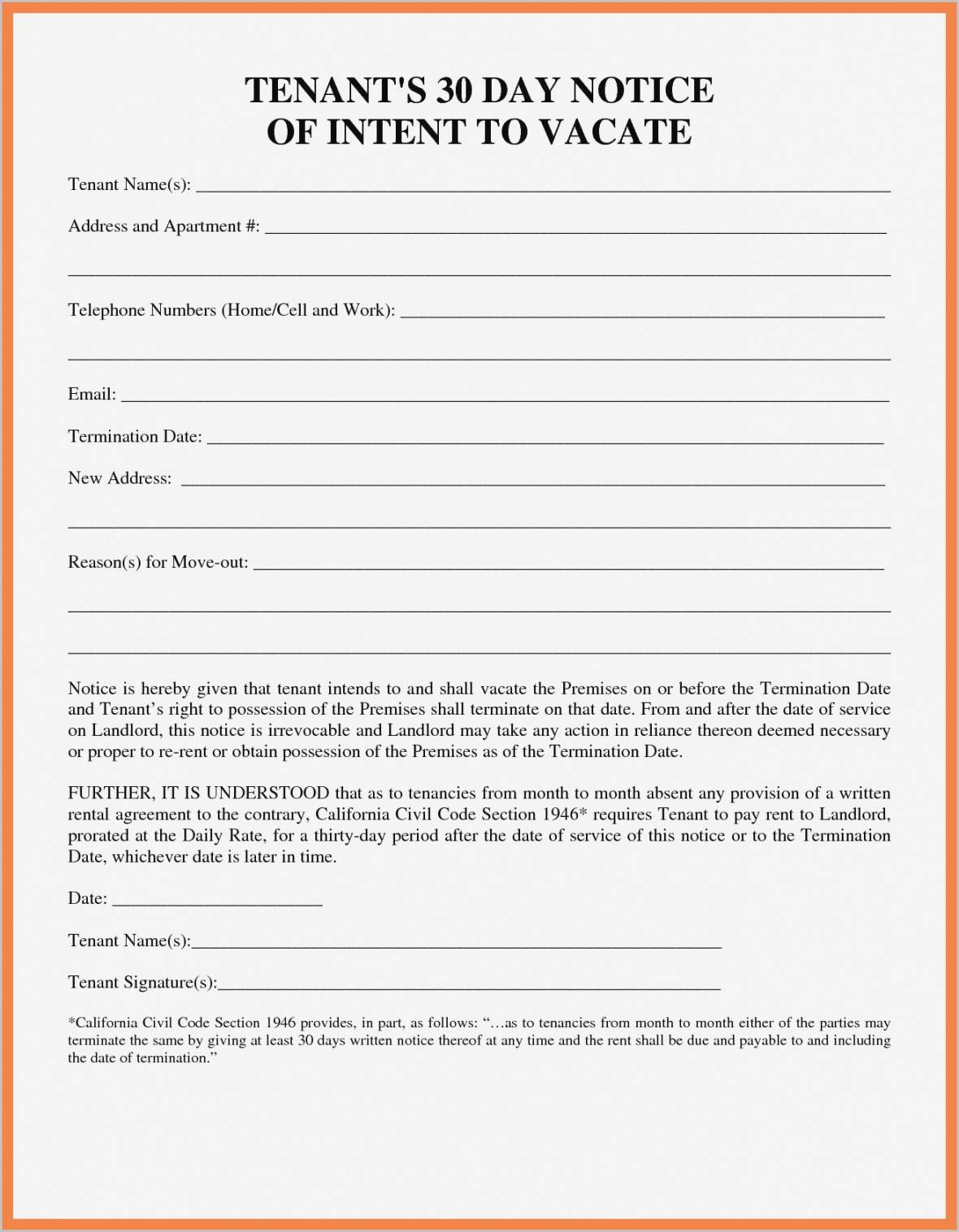 Get Our Printable 30 Day Vacancy Notice Template in 2020