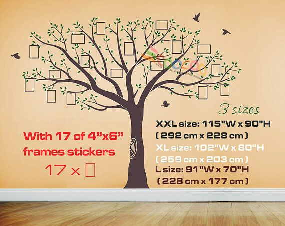 Wall Decal Tree Wall Sticker Large Family Tree Photo Frames ...