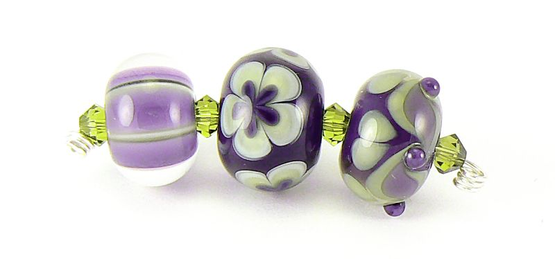 10 HANDMADE OPAQUE PURPLE WITH BLUE WHITE FRIT LAMPWORK SPACER BEADS SRA