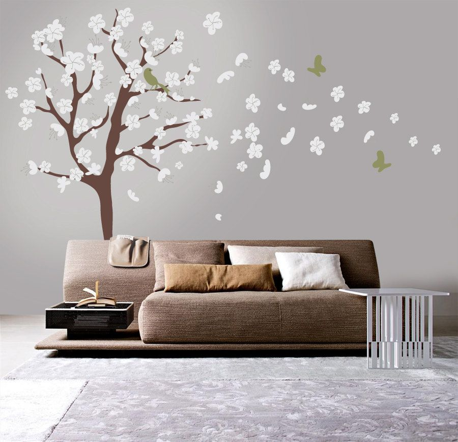 Tree Wall Decal   White Cherry Blossom Wall Decal   Flowers Blowing In  Wind. $79.00