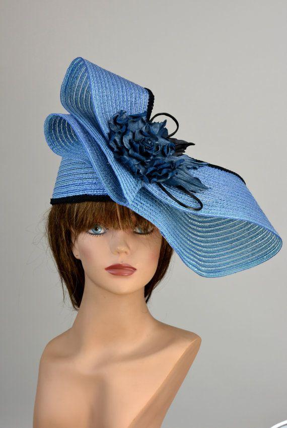 Blue Woman Hat Kentucky Derby Hat Handmade Leather Flower Etsy Hats For Women Kentucky Derby Hat Leather Flowers