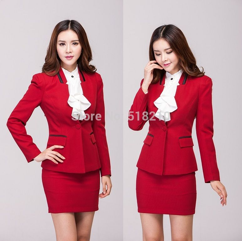 Fashion Red 2015 Formal Skirt Suits Autumn And Winter Office ...