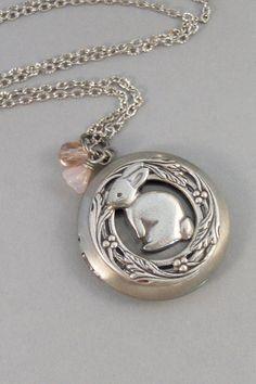 Cottontail,Locket,Rabbit,Silver Locket, Locket, Antique,Woodland,Bunny,Easter, jewelry by valleygirldesigns