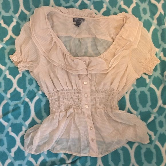 Beige sheer top Beige sheer top, cinched middle, button down, with ruffles. Great for office. Tops Blouses