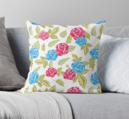 Pillows with RED AND BLUE ROSES