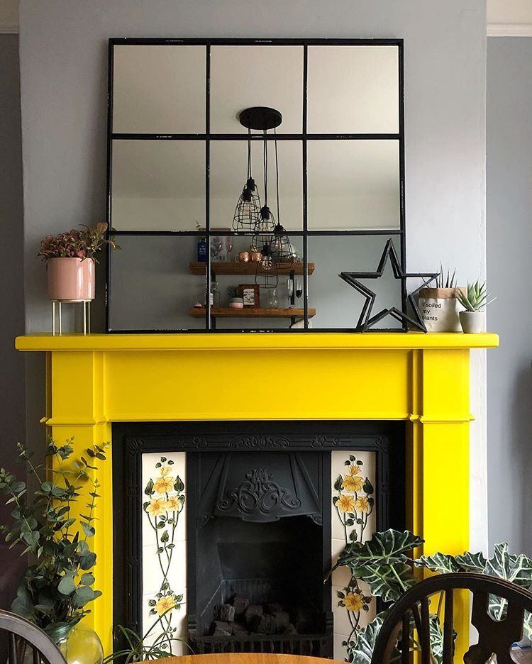Yellow Fireplace Colourful Fireplace Colourful Home Yellow Mantle Coloured Fireplace Industrial Fireplace Mantle Decor Painted Fireplace Mantels Interior