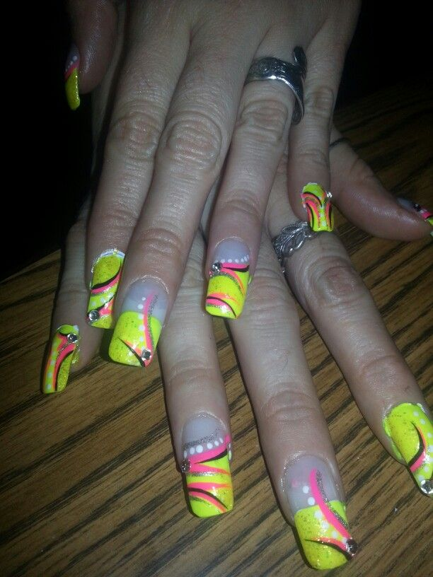 Yellow Pink Black White French Tip Rhinestones Nail Designs Art