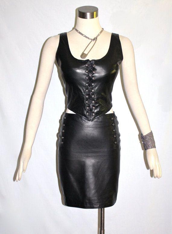 6f2cde60 GIANNI VERSACE Vintage Leather Corset Dress Black Biker Medusa Head ...