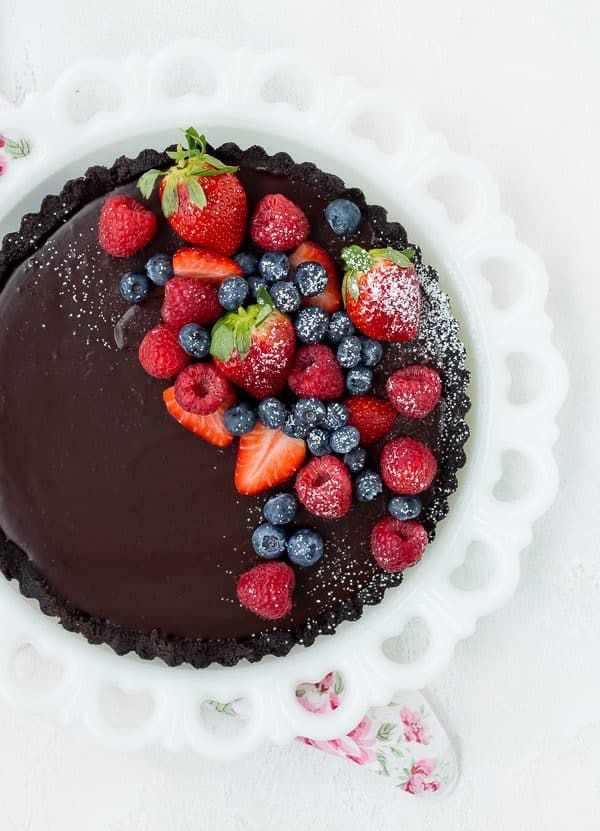 Chocolate Tart Recipe - NO BAKE - 4 Ingredients! This recipe will have your friends thinking you're a pastry chef - no one will even guess how easy this was to make!