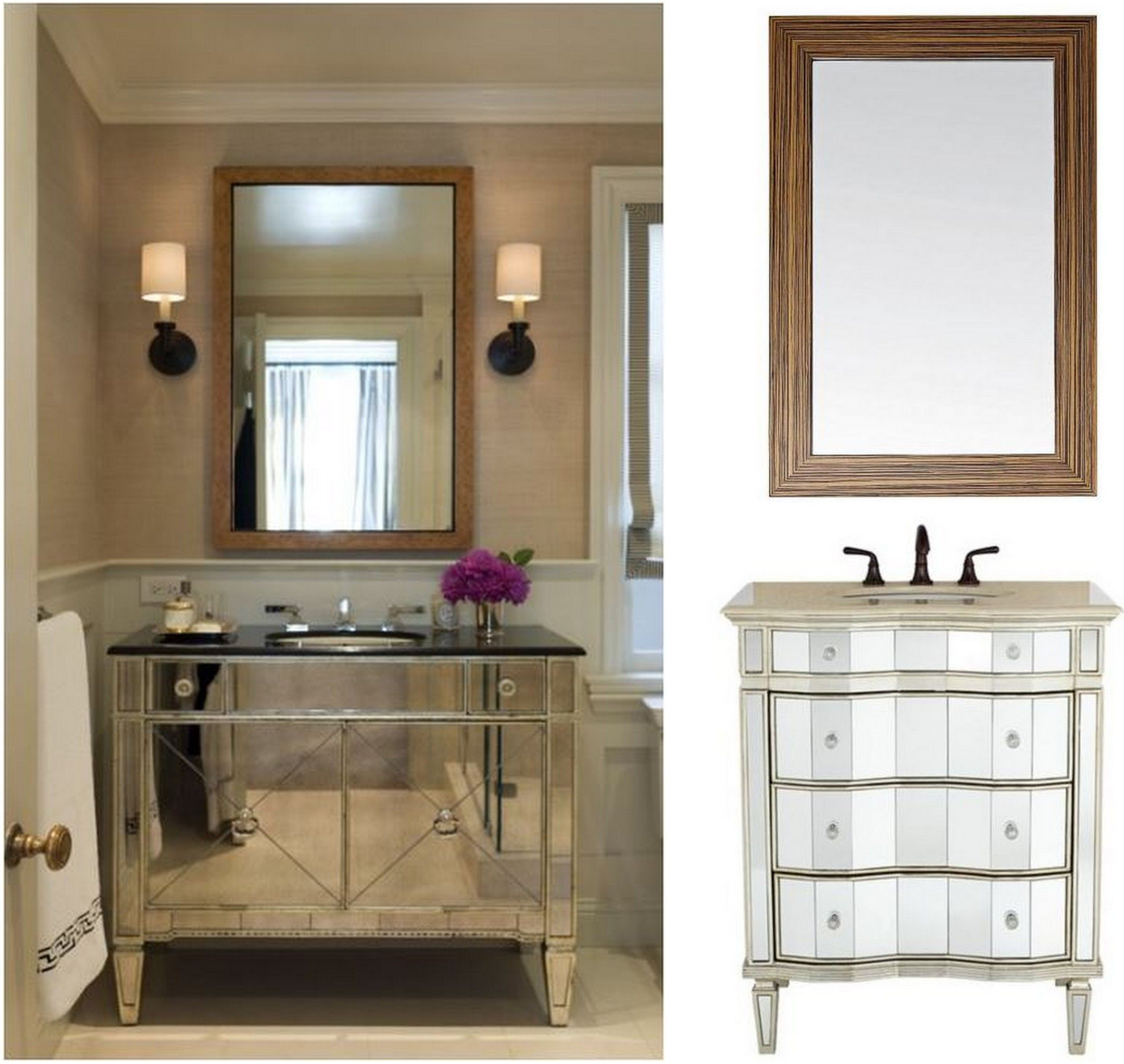 20 Stunning Glam Powder Room Ideas Farmhouse Style Bathroom Vanity Small Bathroom Vanities Bathroom Mirror