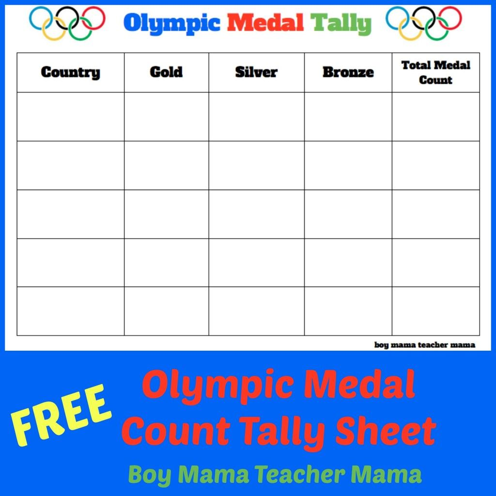 Teacher Mama Free Olympic Medal Count Tally Sheet