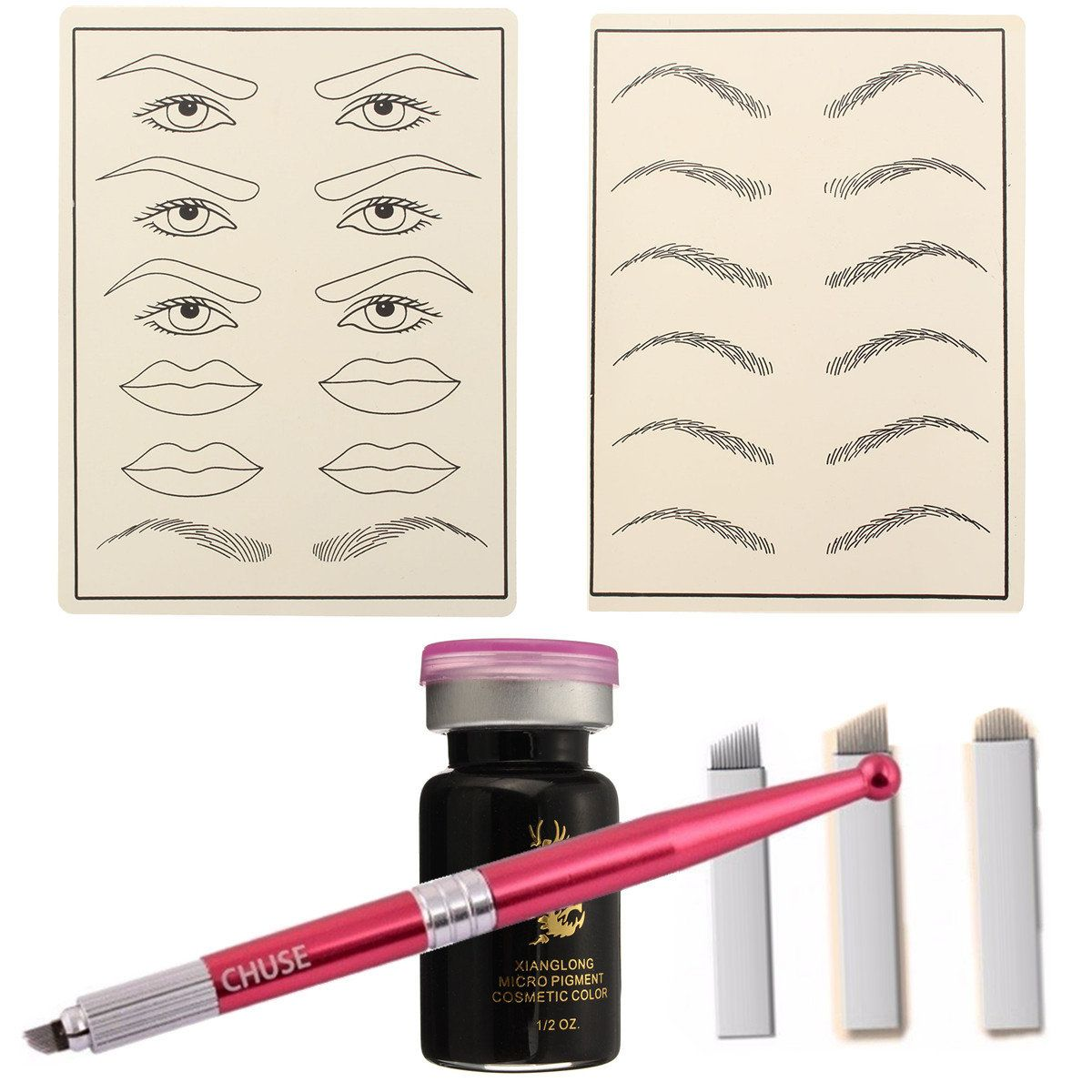 Makeup Tattoo Kit Permanent Eyebrow Pen Practice Tattoos