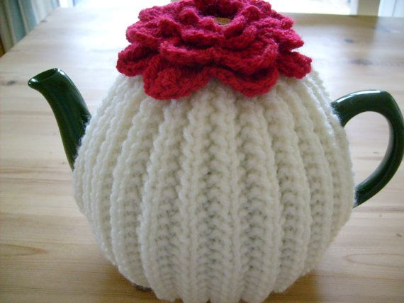 Knitted Tea Cosy with Flower Topper   Stricken