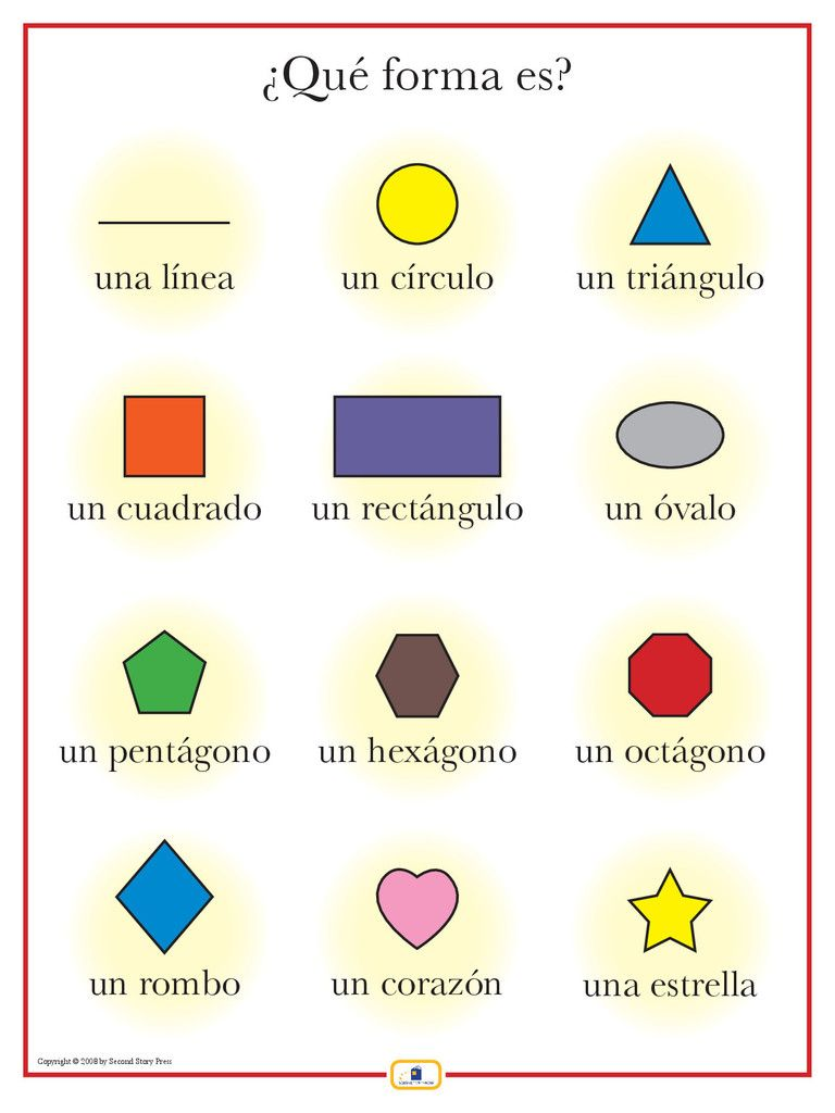 Spanish colors for preschool - French Shapes Poster Italian French And Spanish Language Teaching Posters