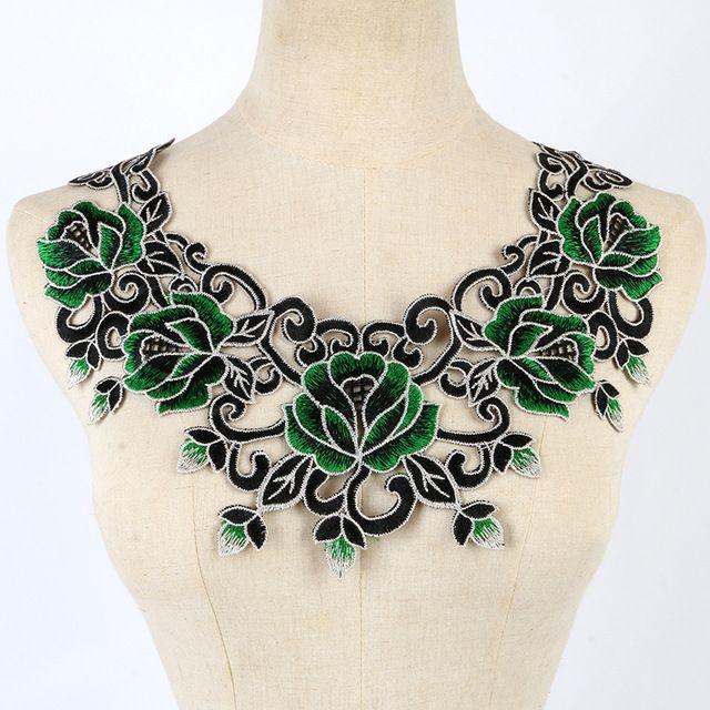 9de2725ae Hilo de Oro Del Arte verde Floral de Encaje Bordado de Lentejuelas Parches  coser Collar Decorado Cuello Escote Applique Recorta Las Mujeres