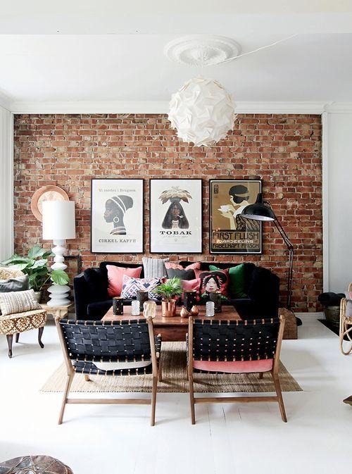 Hjemme Hos Keiserne Norske Interiørblogger Brick Living Room Brick Interior Wall Brick Interior