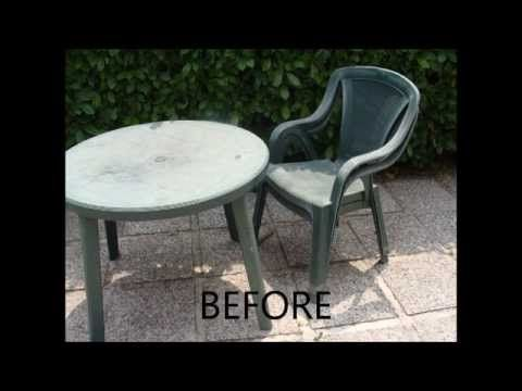 Budget Garden Howto Restoring Those Basic Plastic Patio Chairs On The Cheap Youtube Plastic Patio Furniture Plastic Patio Chairs Plastic Furniture