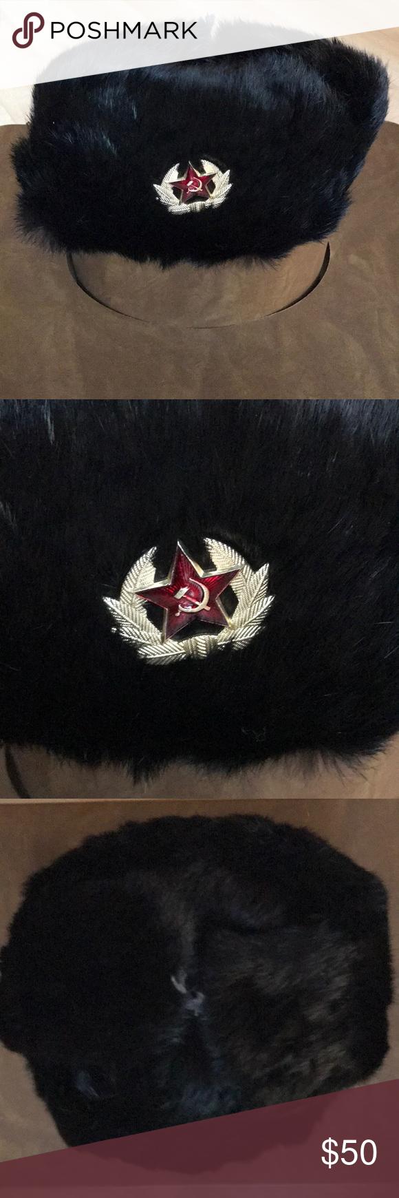 Vintage Russian Rabbit Fur Hat Ooshanka Rabbit Fur Hat Vintage Russian Hats