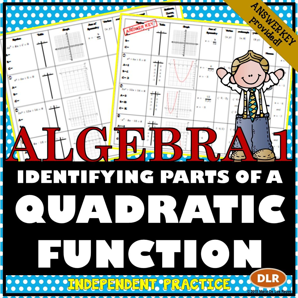 Identifying the parts of a quadratic functions worksheet identifying parts of a quadratic function worksheet great complement to an introductory lesson on quadratic functions robcynllc Images