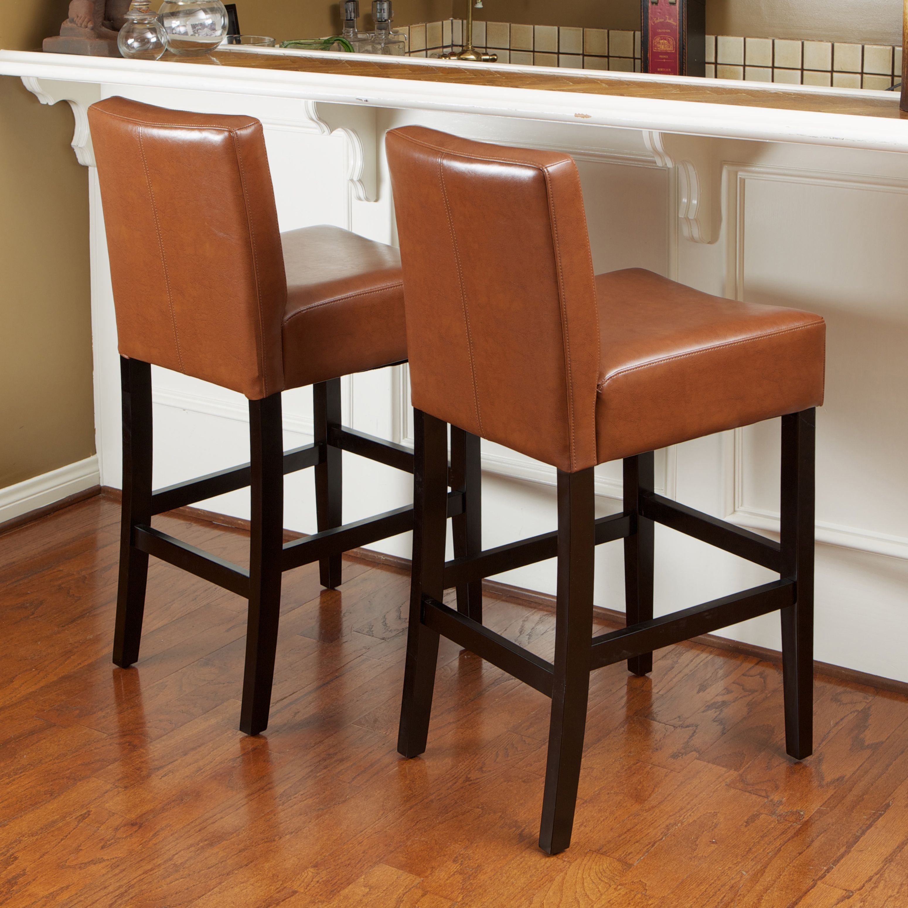 Lopez 26 Inch Hazelnut Leather Counterstools Set Of 2 By Christopher Knight Home Leather Counter Stools Bar Furniture Home Decor Sets