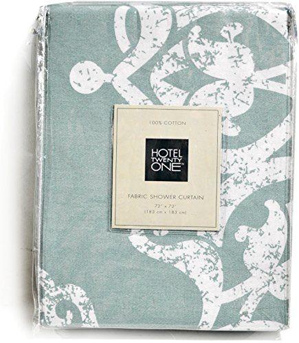 Hotel 21 Cotton Fabric Shower Curtain Aqua Blue White