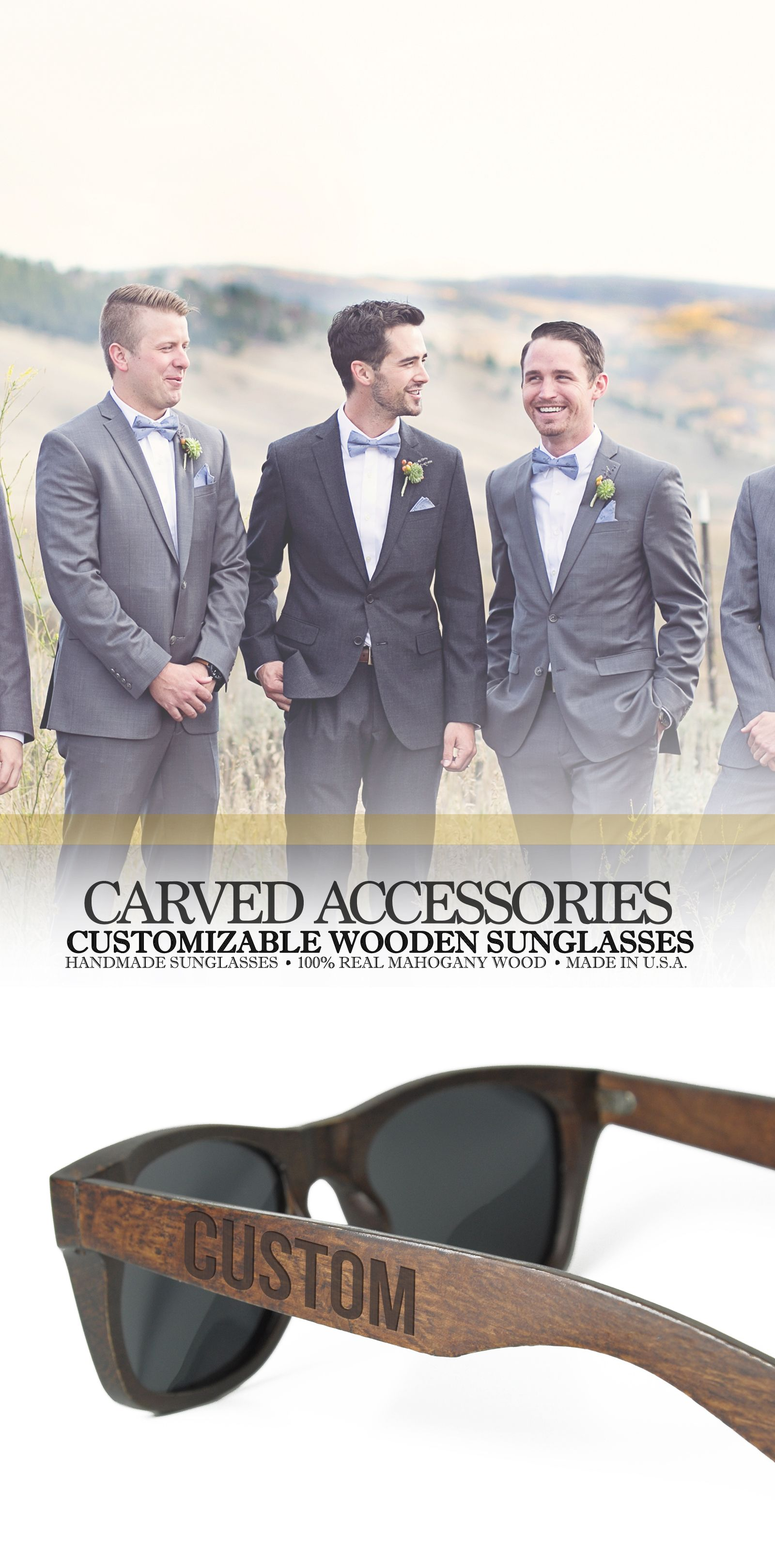07fa341cf3 Custom Monogrammed Wooden Sunglasses are the perfect Groomsmen s Gift idea.  These are 100% made with real wood in the USA. It serves as the perfect gift  for ...