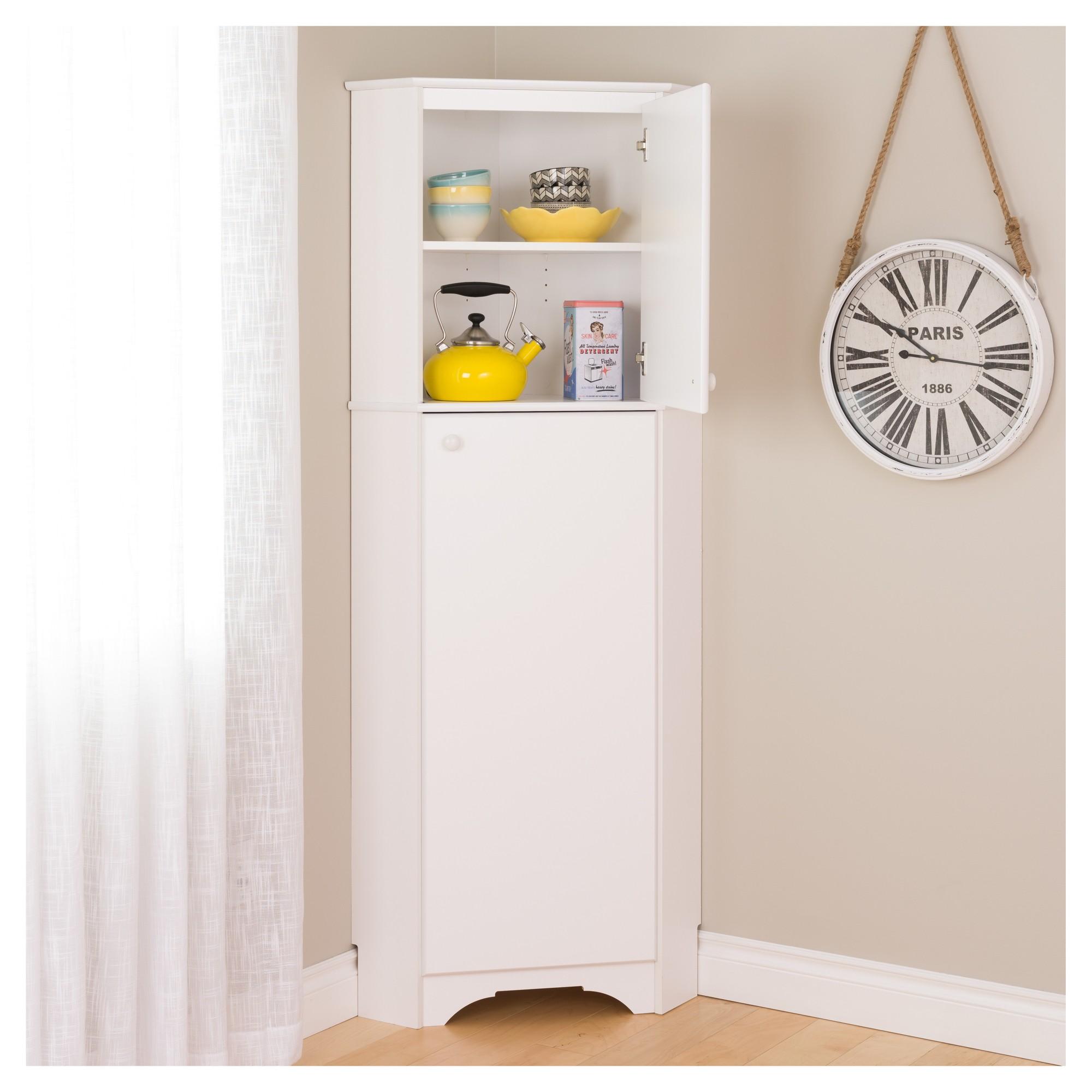 Elite Tall 2 Door Corner Storage White