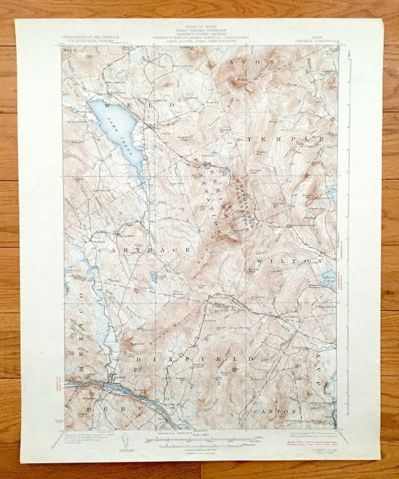 Antique Dixfield Maine 1929 Us Geological Survey Topographic Map