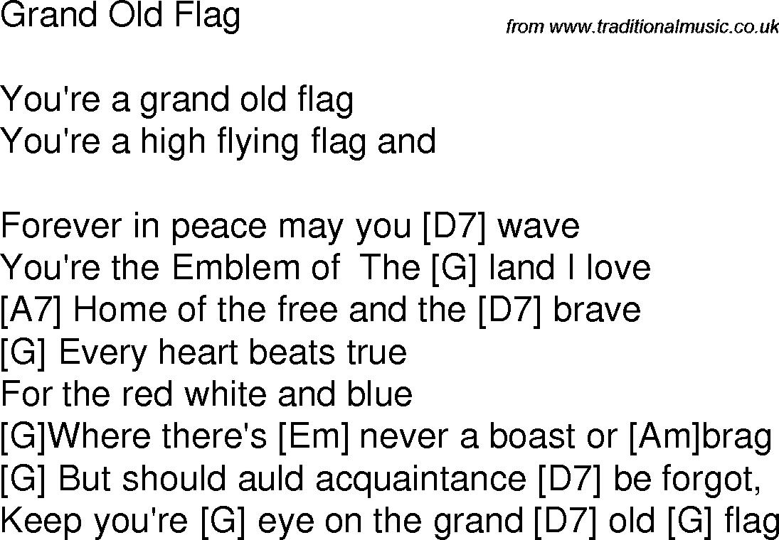 Old Time Song Lyrics With Chords For Grand Old Flag G Songs Lyrics Song Lyrics