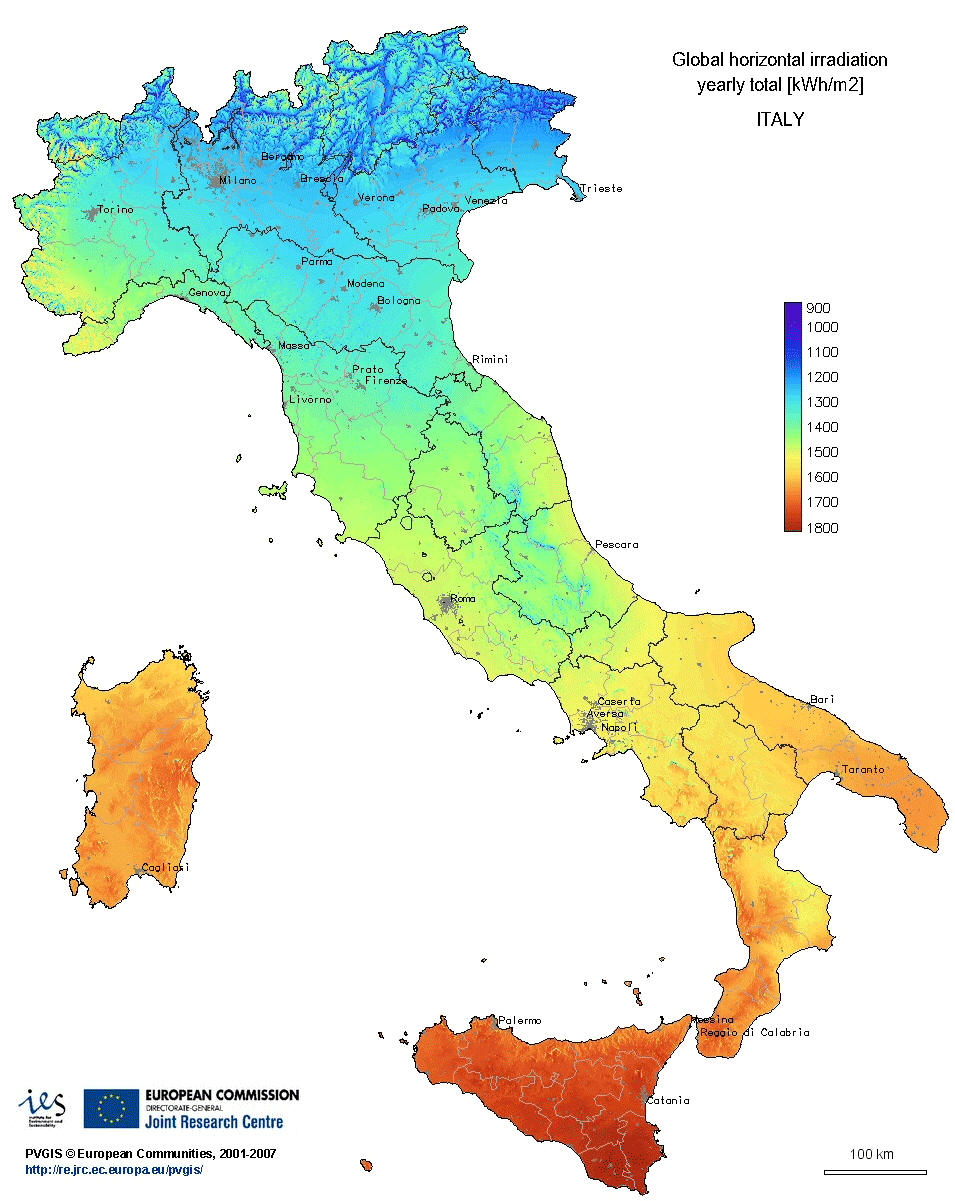 Irradiation Map Of Italy Quantitative Italy And DC Pinterest - Maps of italy