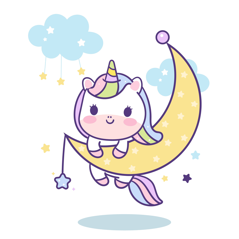 Cute Unicorn Vector On Moon Magic Sleeping Time For Sweet Dream