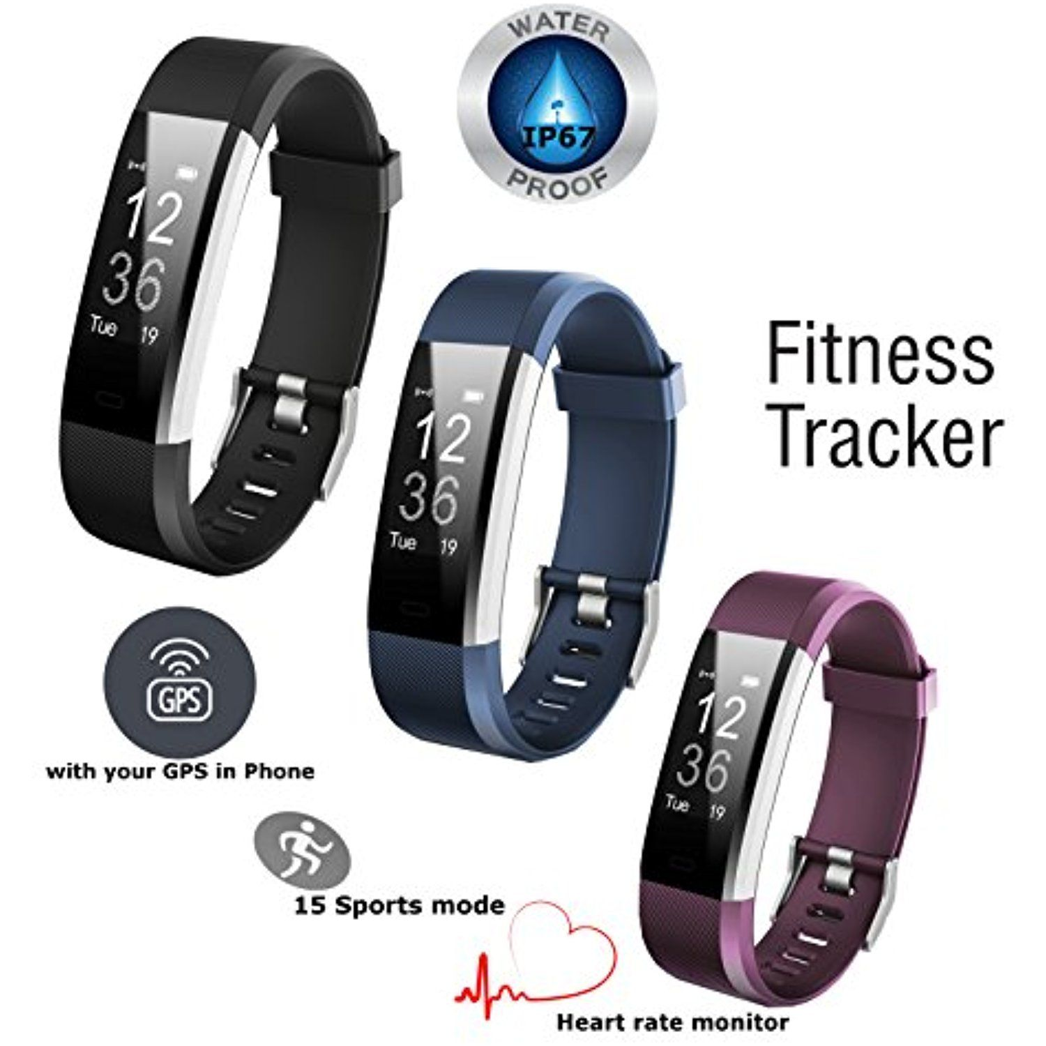 Fitness Tracker Heart Rate Monitor – Bluetooth Connect