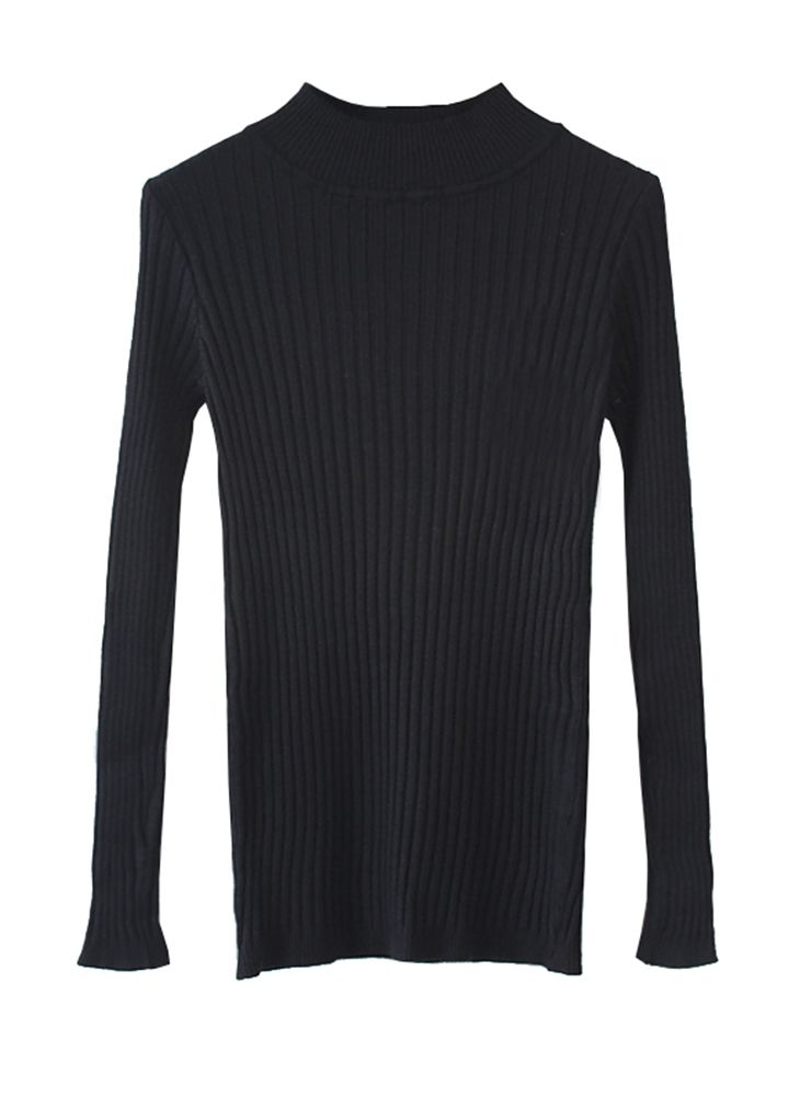 New-Year-Sale-Women-Solid-Color-Crew-Neck-Long-Sleeve-Bottoming-Sweater