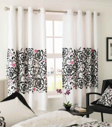 Love this curtain idea just a touch of pattern and a very small touch of pink