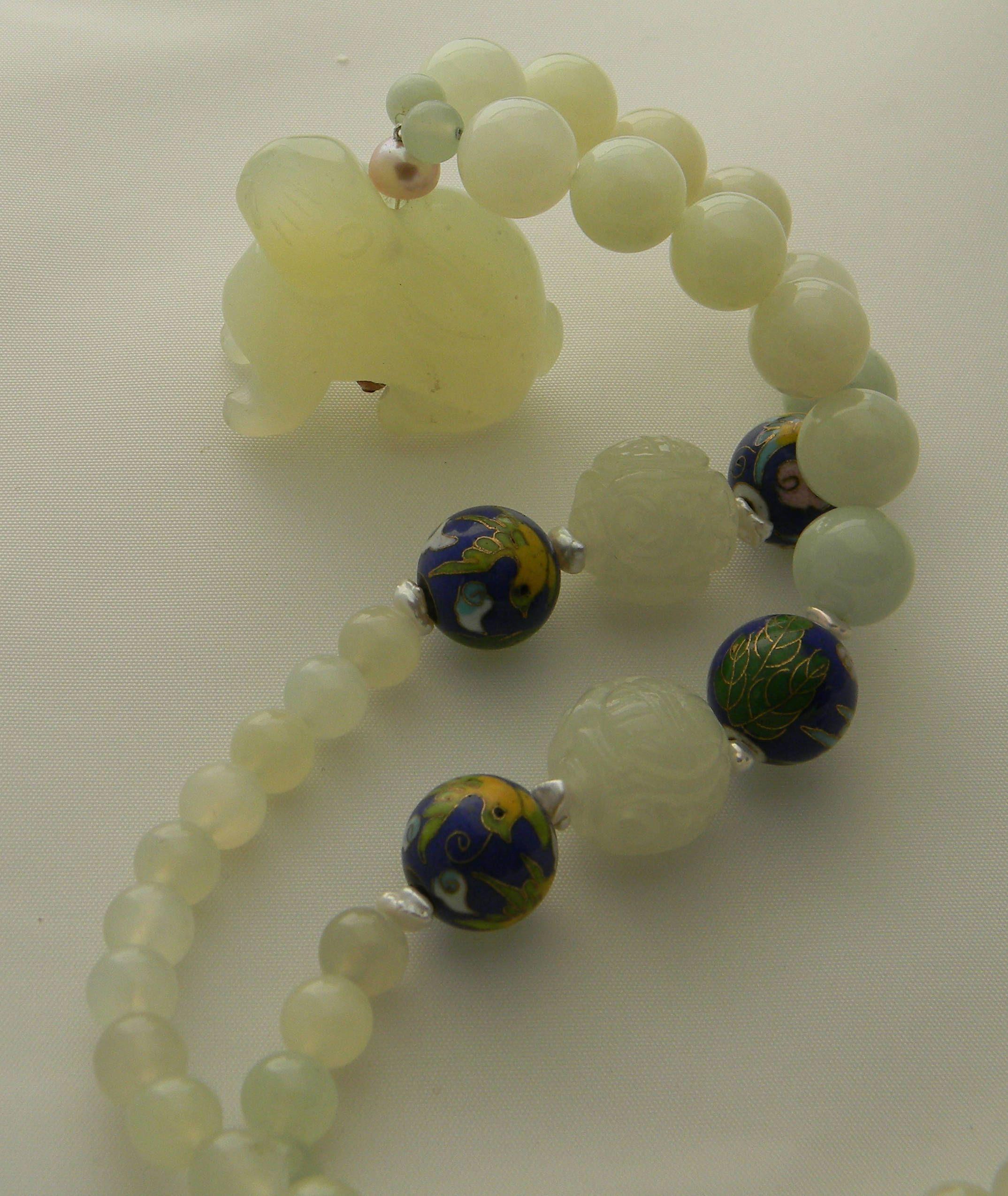 New jade rabbit pendant on jade beads jade charms necklace with new jade rabbit pendant on jade beads jade charms necklace with chinese vintage cloisonne aloadofball Images