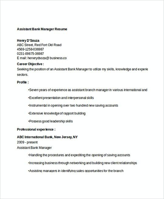 Assistant Manager Resume Format Amusing Assistant Bank Manager Resume Template  Professional Manager Resume .