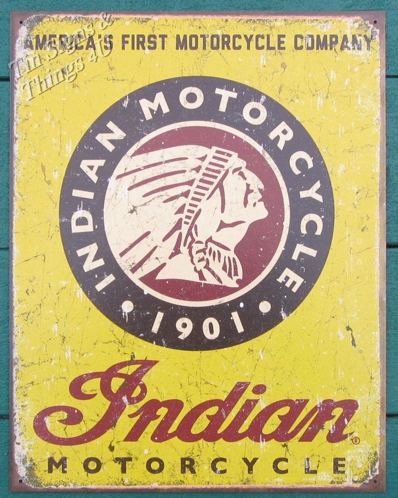 Indian America\'s First Motorcycle TIN SIGN vtg garage metal bar wall ...