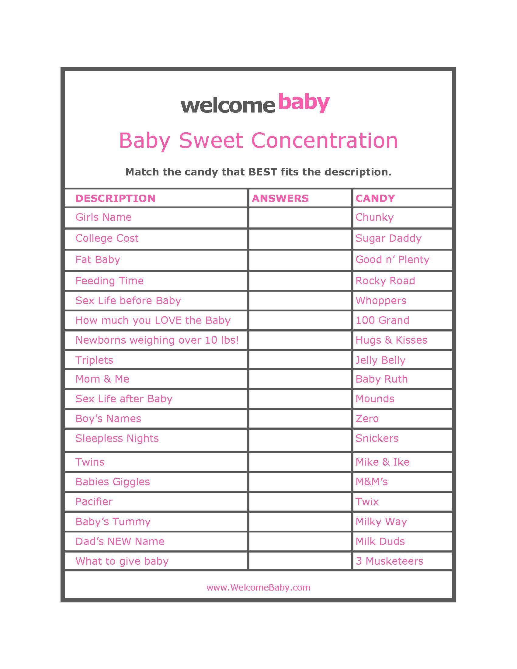 Freeprintablebabyshowergameswithanswers Baby Acord Shower