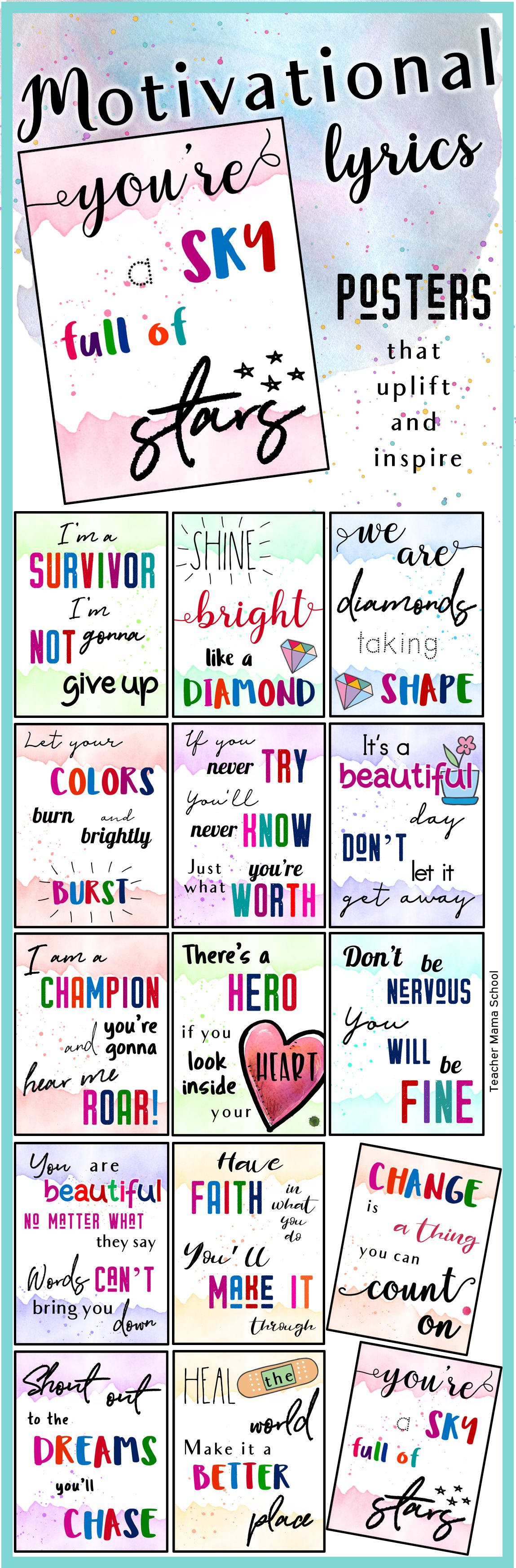 Motivational Quotes Posters Song Lyrics In Watercolor Motivational Song Lyrics Motivational Quote Posters Motivational Songs
