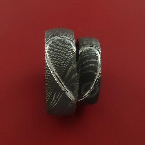 matching damascus steel heart carved ring set wedding bands - Damascus Wedding Ring