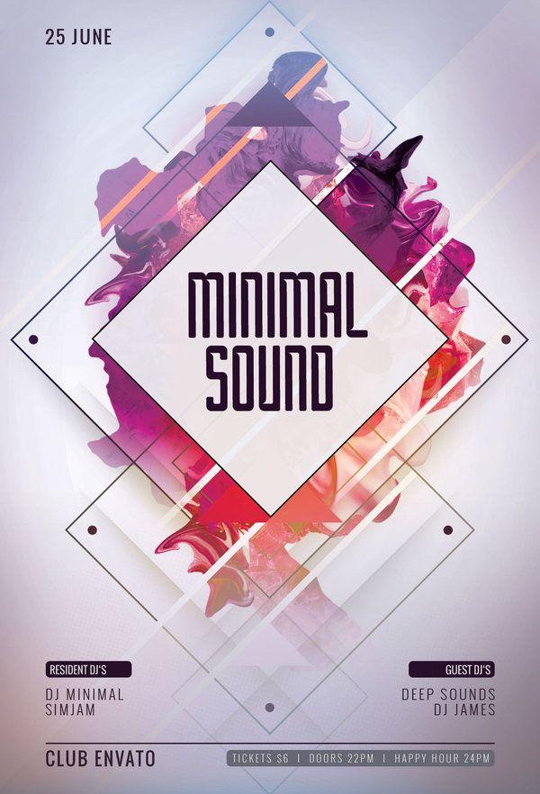 minimal sound flyer template  buy psd file  9