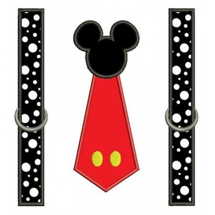 Looks like Mickey Mouse Tie with suspenders Applique Machine ...