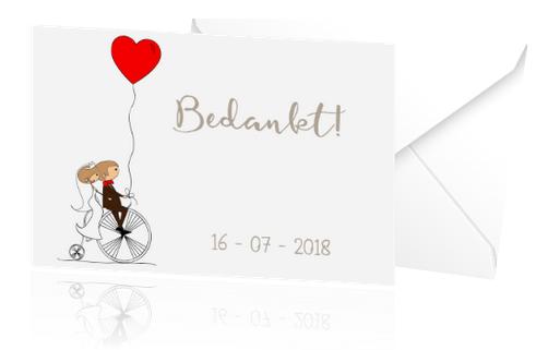 Ongebruikt Leuk bedankje voor de bruiloft met een retro fiets en rood hartje CE-02