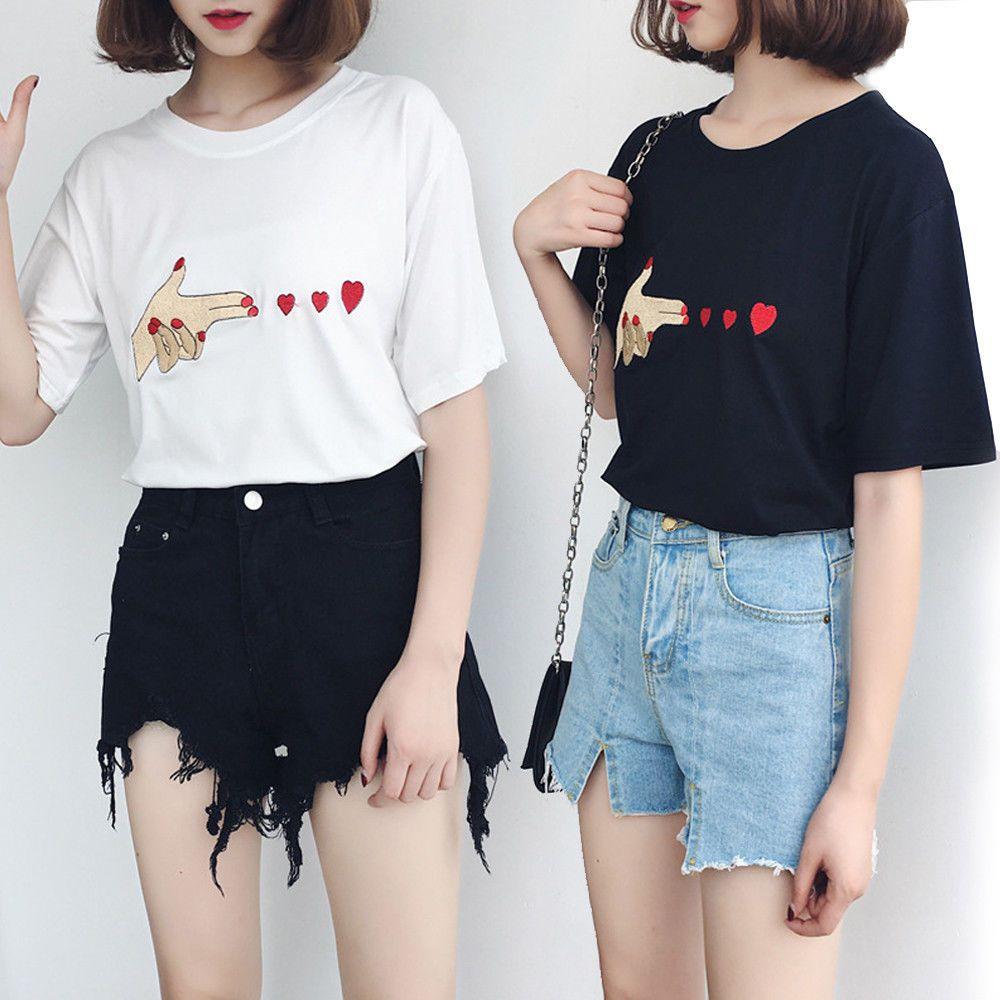 Women//Girl Korean Summer Heart print casual T-shirt short sleeve Blouse