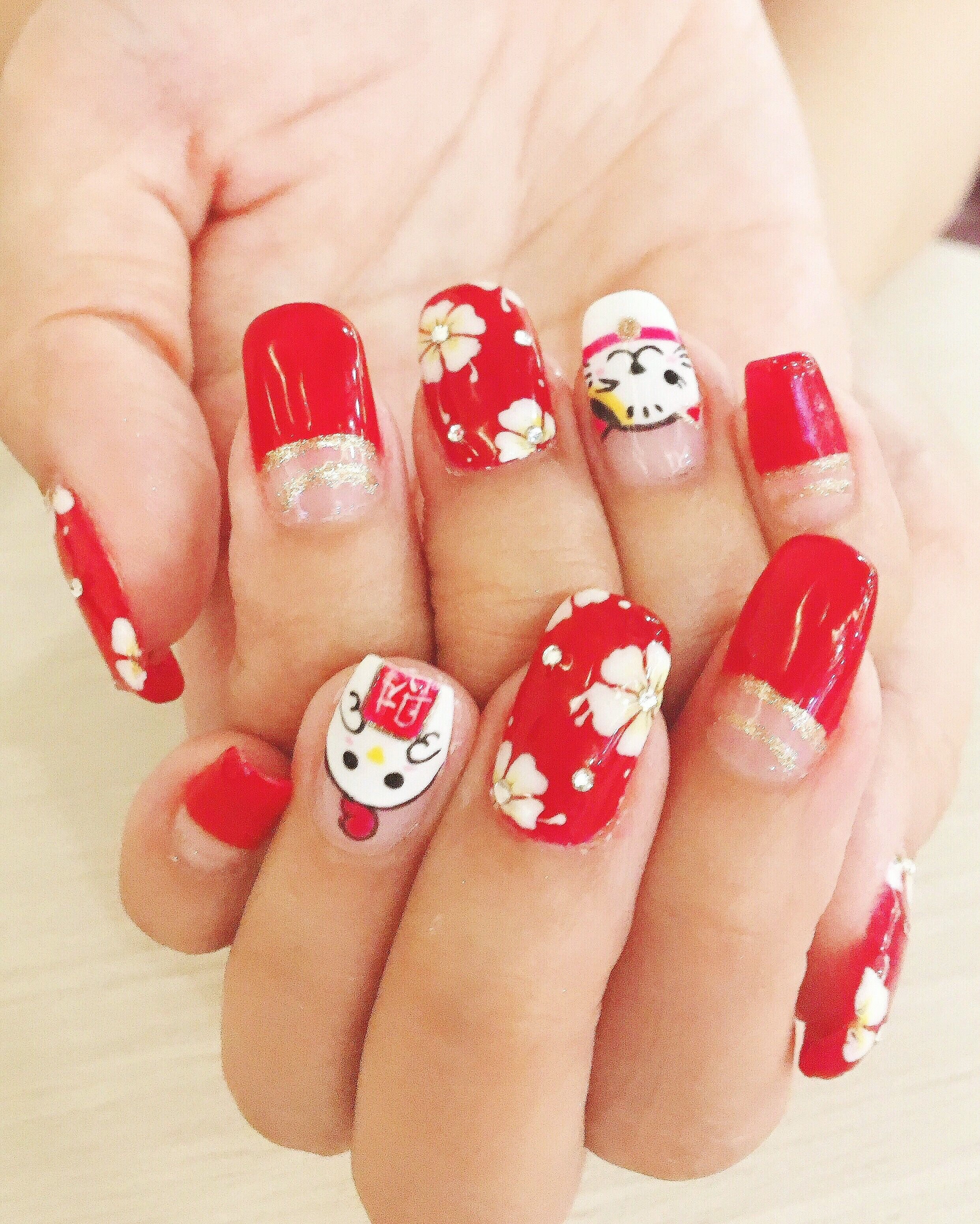 Rooster Chinese new year gelish manicure nail art with