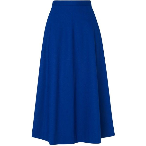 Jaeger Flare Skirt (2,560 MXN) ❤ liked on Polyvore featuring skirts, bottoms, etek, bright blue, blue skater skirt, skater skirt, blue skirt, flare skirt and flared skirt