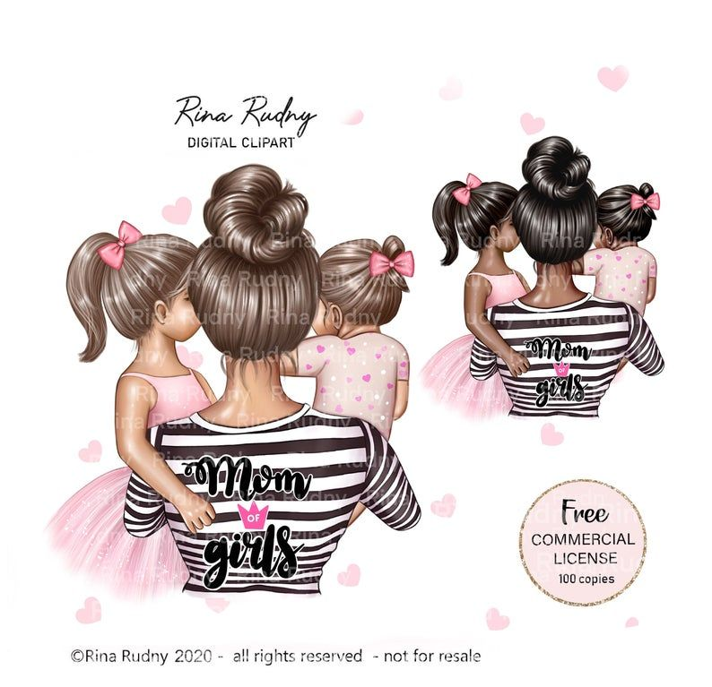 Girly illustration Gift for mom Mommy clipart Mother\u2019s Day clipart Mom girl clipart Mother daughter clipart Family clipart