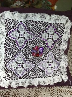 Purple Suede Pillow with Vintage Hand Crocheted Doily. $49.95, via Etsy.
